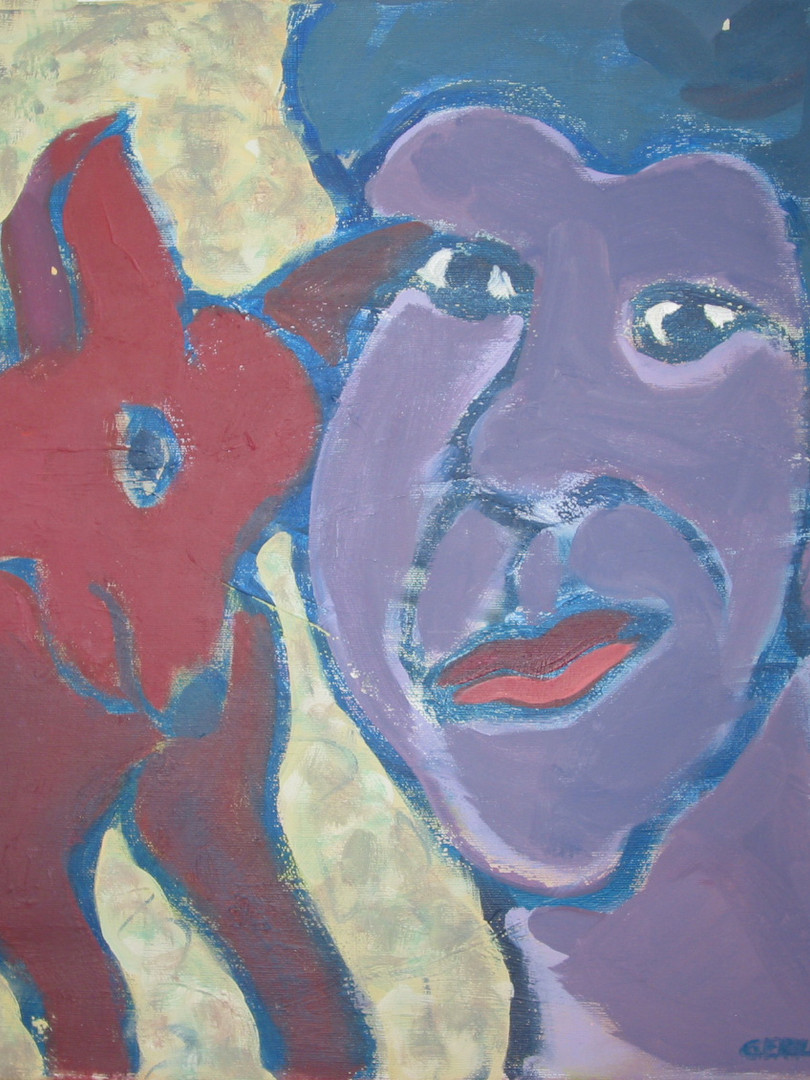 Frau mit Hund 1 | 50x50cm
