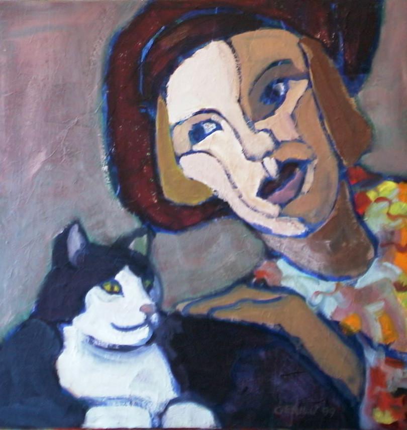 Frau mit Katze 2 | 50x50cm
