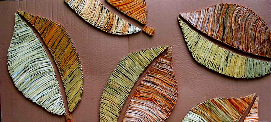 Blätterkomposition 60x127cm