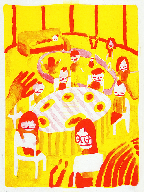 Dinner Risograph Print