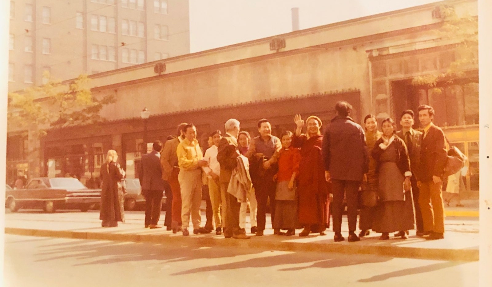 The first wave of Tibetan Canadians waiting for a bus for a trip to Toronto from Lindsay.  24/24