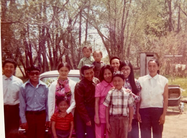 Gathering in driveway of Alberta (1971).
