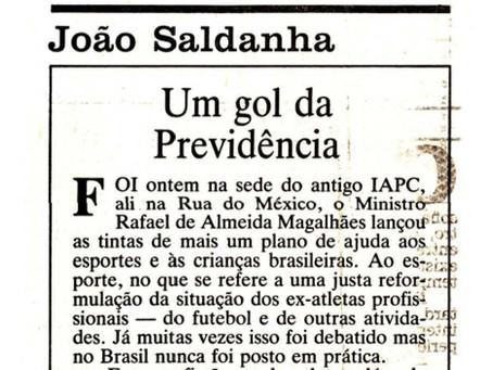 """Crônica de João Saldanha: """"Um gol da Previdência"""" 1986 JB"""