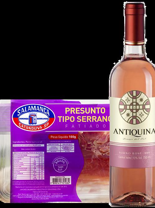 Vinho Antiquina Rose e Presunto Serrano Fatiado 100 g