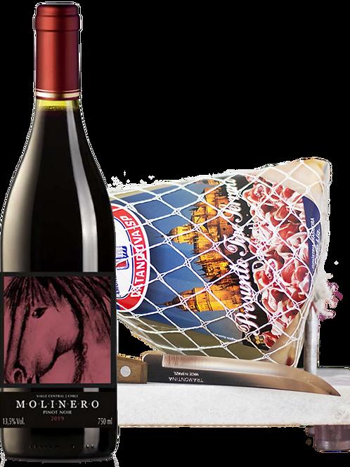 Molinero Pinot Noir e Kit Minijamón 1 kg com Suporte de Mármore e Faca