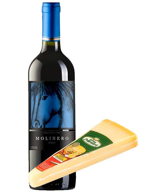 Kit de vinho e queijo Molinero Malbec e Grana Padano Gran Mestri
