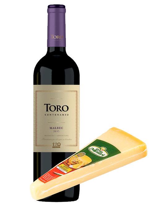 Kit de vinho e queijo harmonizado Toro Centenario Malbec e Grana Padano Gran Mestri