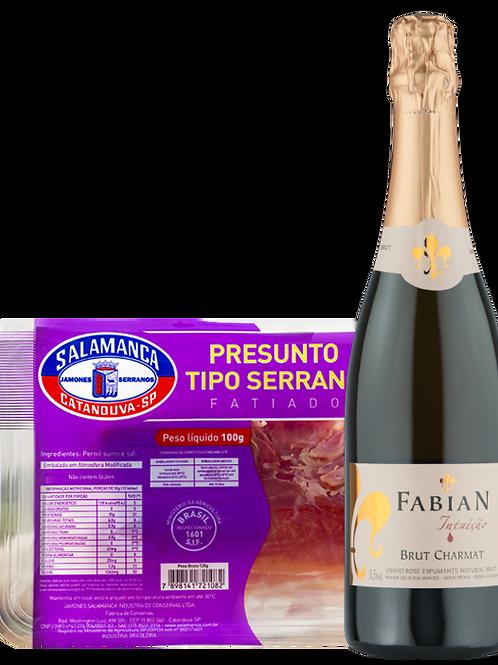 Fabian Intuição Brut Rosé e Presunto Serrano Fatiado 100 g