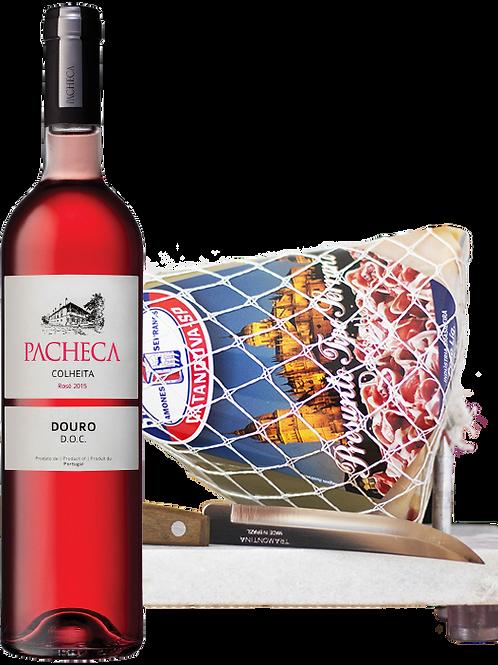 Pacheca Rosé e Kit Minijamón 1 kg com Suporte de Mármore e Faca