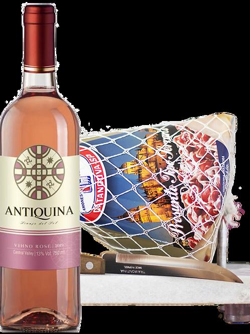Antiquina Rosé e Kit Minijamón 1 kg com Suporte de Mármore e Faca