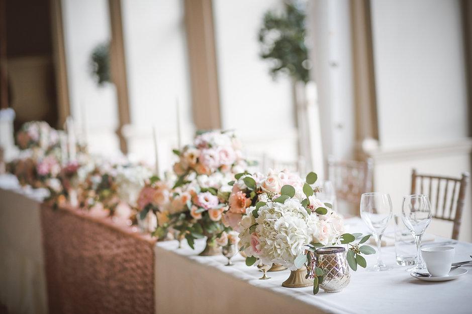 Blumenarrangements Hochzeitstisch Hortensien Second flowers Blumendeko