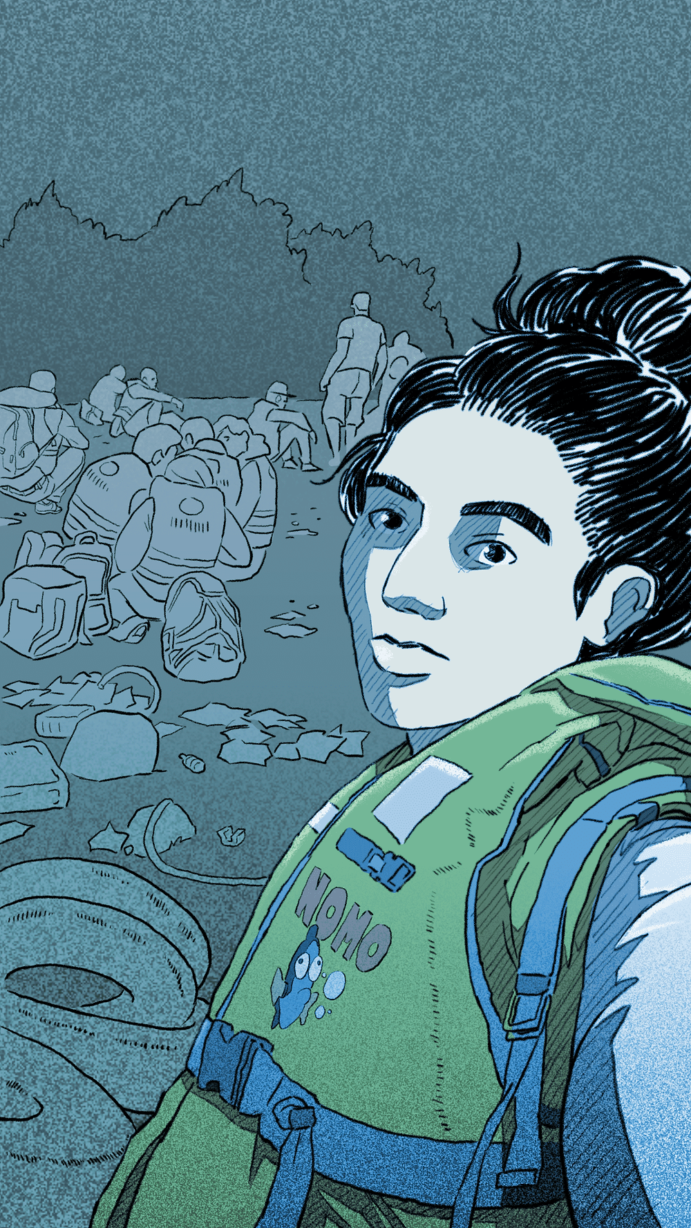Noor, the main character (Still: 'Bury Me, My Love' dev. The Pixel Hunt). A Syrian girl is illustrated wearing a life vest.