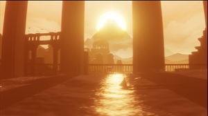 A still from the video game 'Journey'