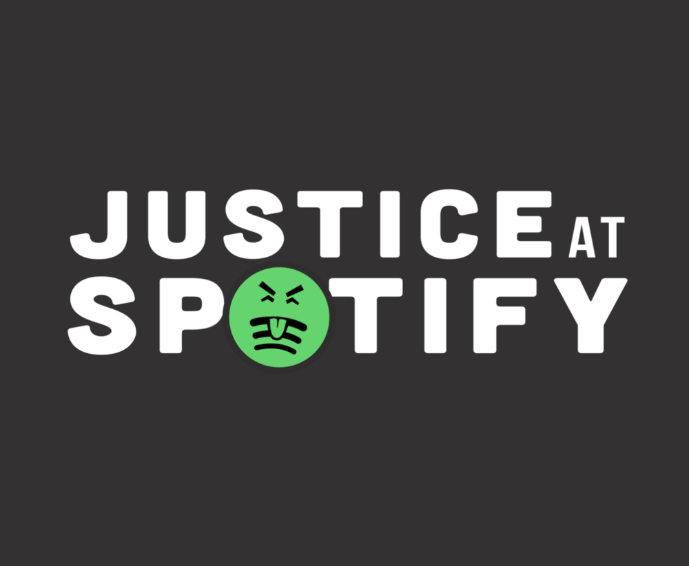 Text: 'Justice at Spotify'. The Spotify logo has been edited to look like it is puking.