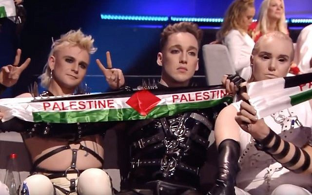 Hatari unfurl Palestine flags at Eurovision 2019 during the vote count.