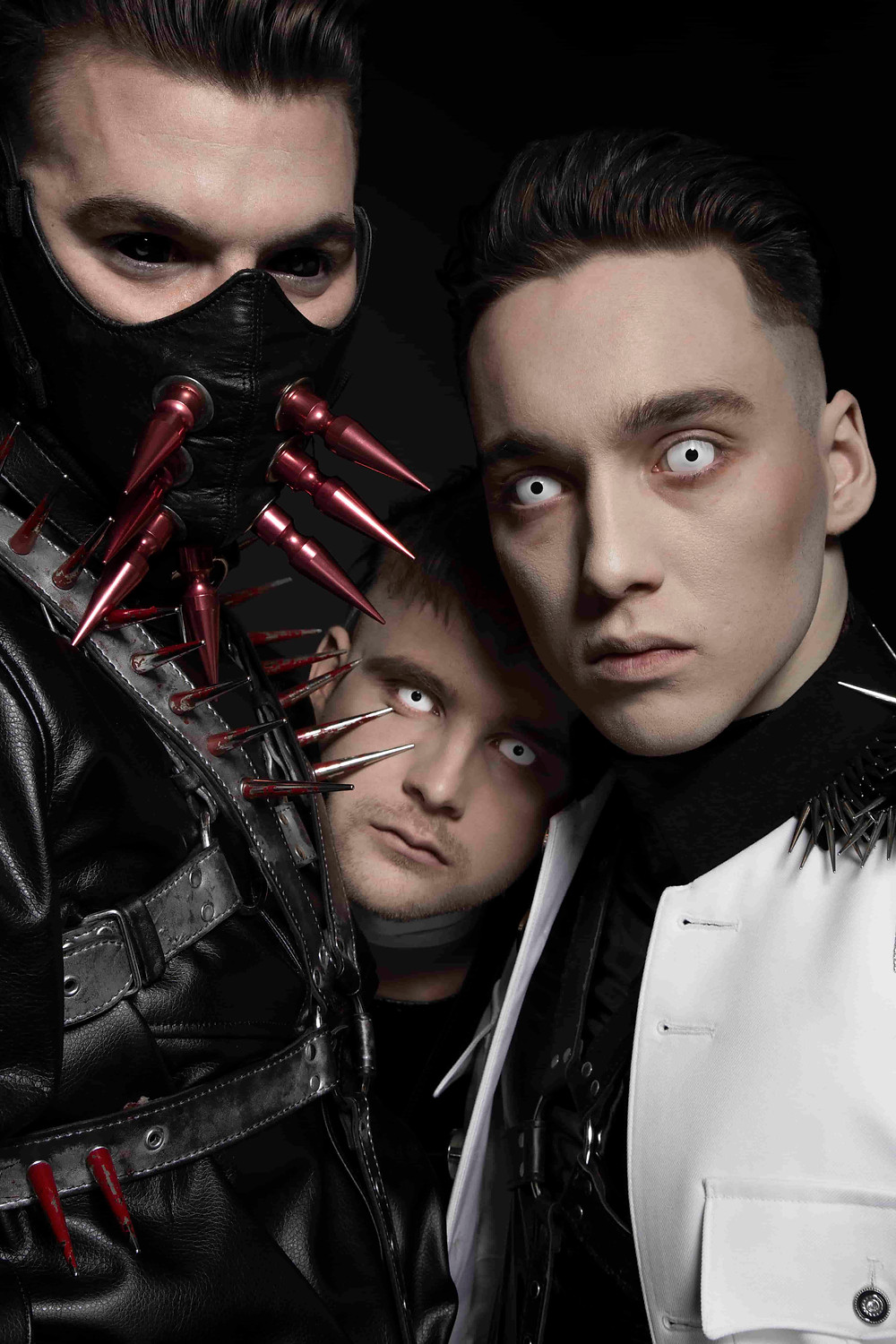 A photograph of the band Hatari from Iceland. Hatari: Einar Stefánsson, Klemens Hannigan, Matthías Haraldsson. Photo by Lilja Jóns