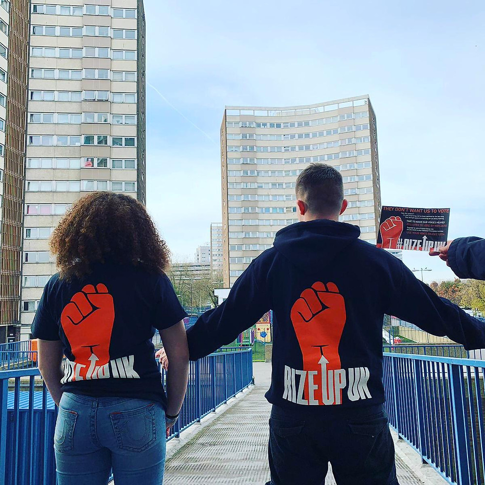 A Rize Up street team canvassing in Leeds, 2019. These activists organise to get young people from marginalised backgrounds talking about politics and registering to vote.