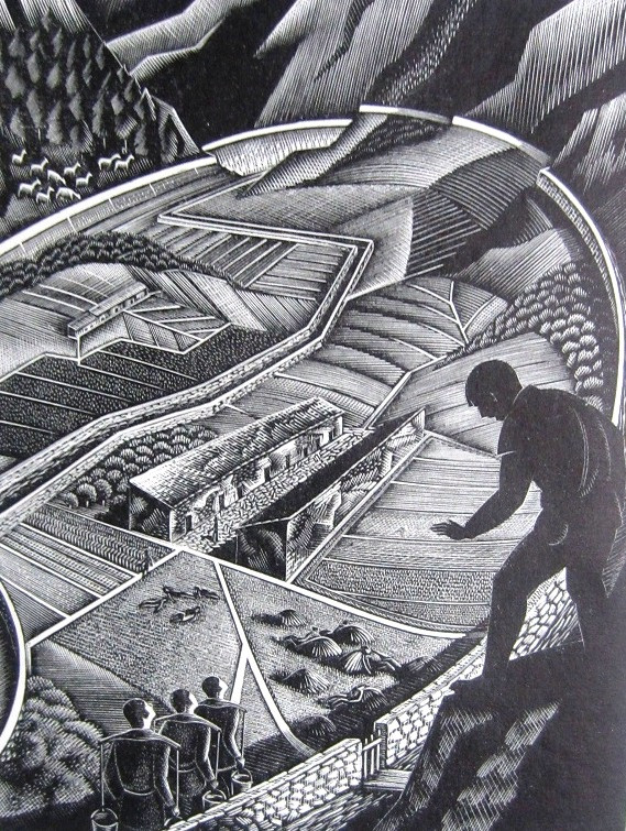 A lino carving of H.G. Wells The Land Of The Blind.
