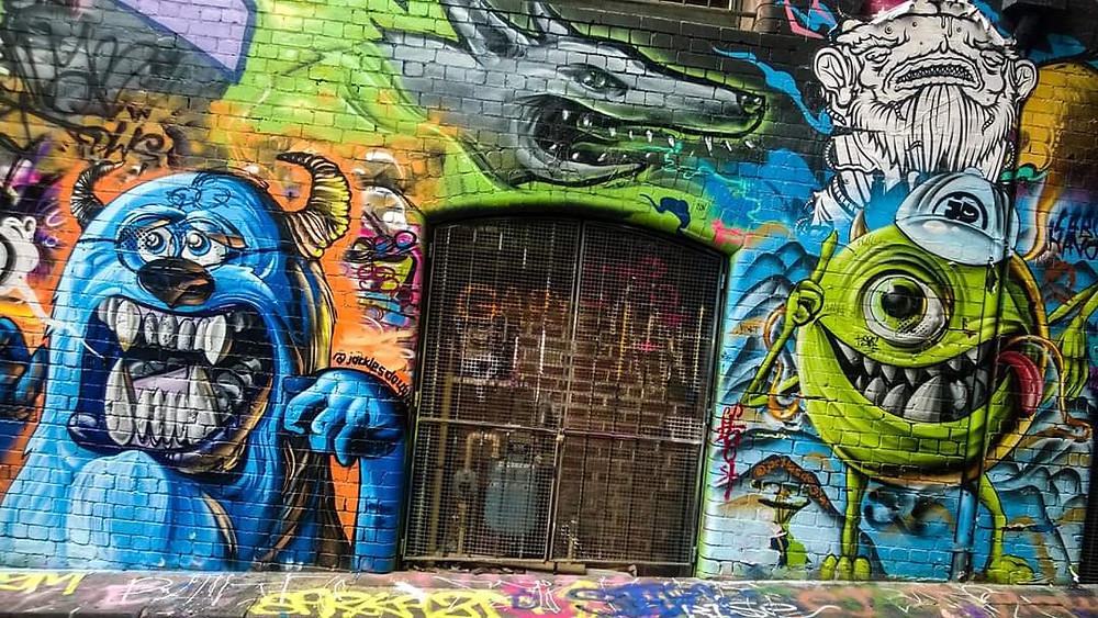 Monsters Inc. graffiti on Hosier Lane in Melbourne (Credit: Blake Currall)