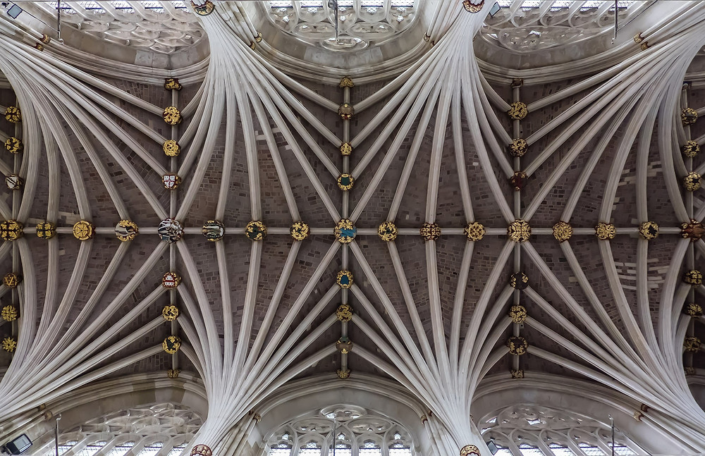 A photograph of Exeter Cathedral's vaulted ceiling.