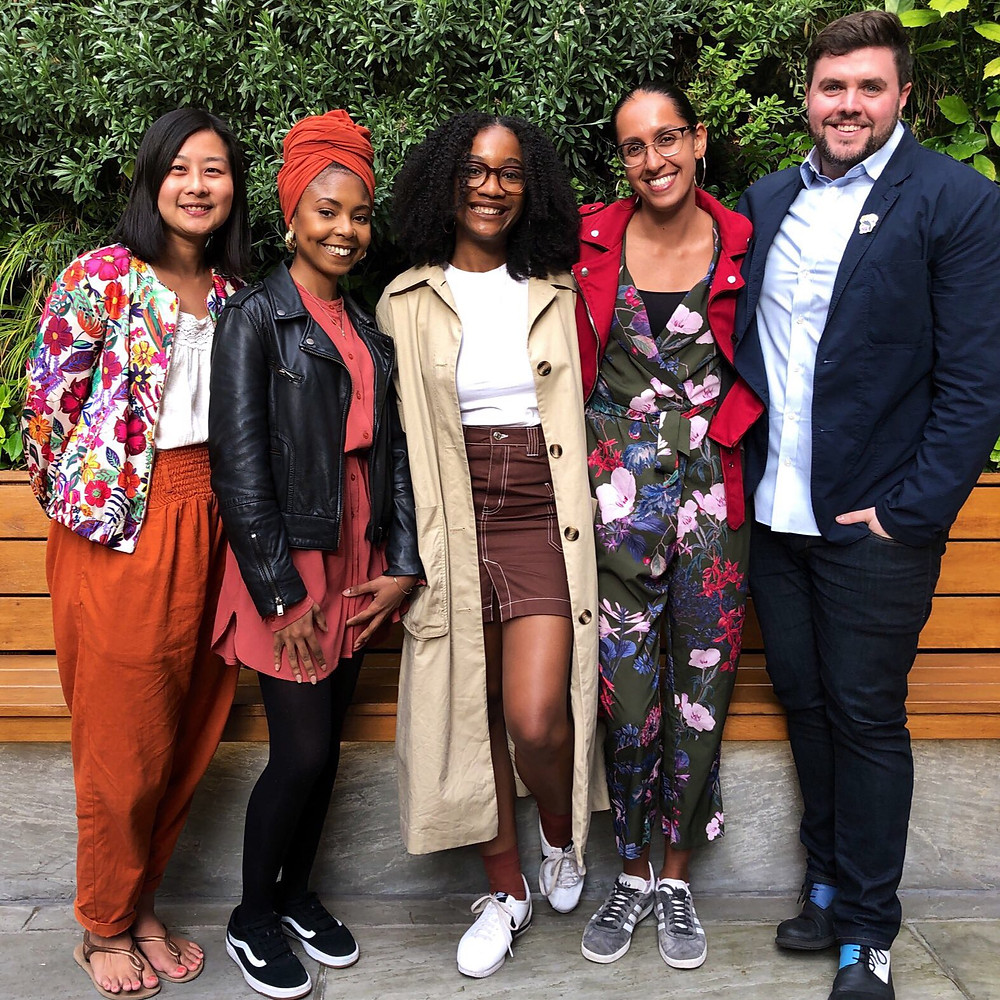The team behind Knights Of, a radically inclusive childrens' publishers. From left to right: Marketing Director Daphne Lao Tong; Creative Director Marssaié; Co-Founder Aimée Felone; Editorial Director Eishar Brar; Co-Founder David Stevens.