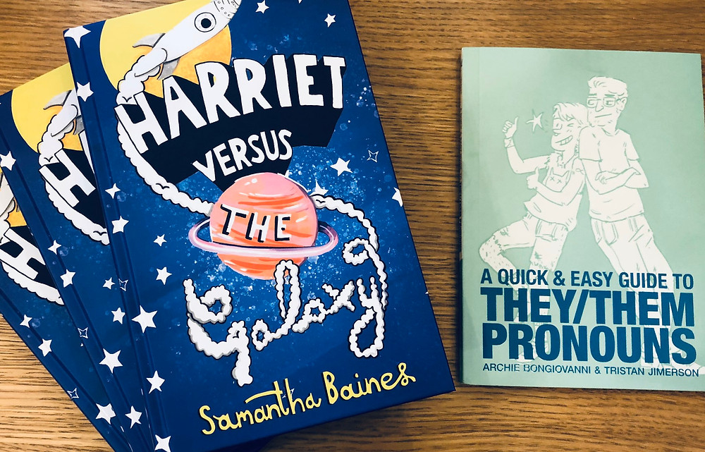 Two Knights Of books: 'Harriet versus the galaxy' by Samantha Bianes; 'A quick and easy guide to They / Them pronouns' by Archie Bongiovanni and Tristan Jimerson. (Credit: Knights Of).