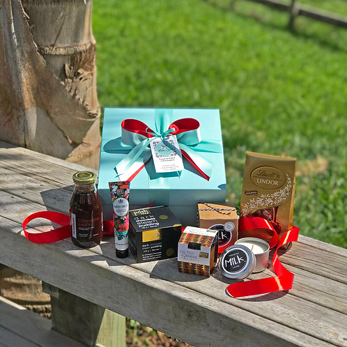 Gorgeous gift for Christmas, yummy choc pudding, fig pear chutney, mixed selection of chocolates, scented soy candle, etc