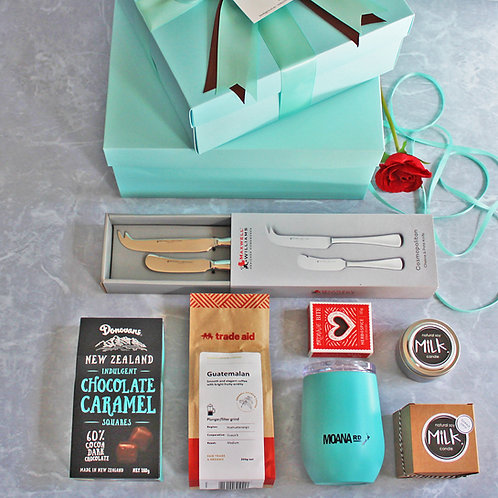 housewarming gift hamper organic plunger coffee, travel mug, brownie, chocolates, cheese & pate knife set, scented soy candle