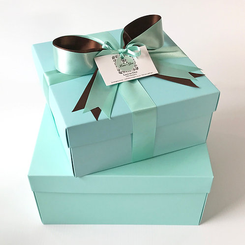 Medium empty gift hamper with satin bow and tissue ready for you to select your choice of gifts to include