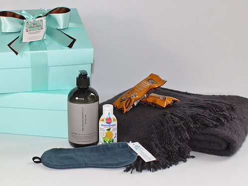 mens get well gift: throw blanket, hand & body lotion no chemicals, healthy snacks, soft velvet eyemask, fruit flavour water