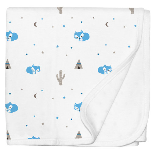 Desert Fox Blue Baby Blanket