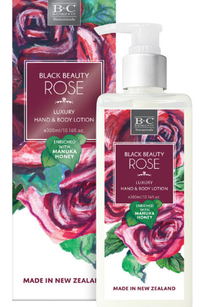 Black Beauty Rose luxury hand and body lotion enriched with manuka honey, add to your custom gift hamper