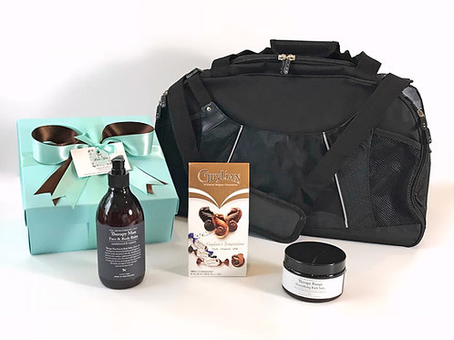 mens gift hamper with overnight bag, corporate mens gift, mens birthday gift, mens gift baskets NZ
