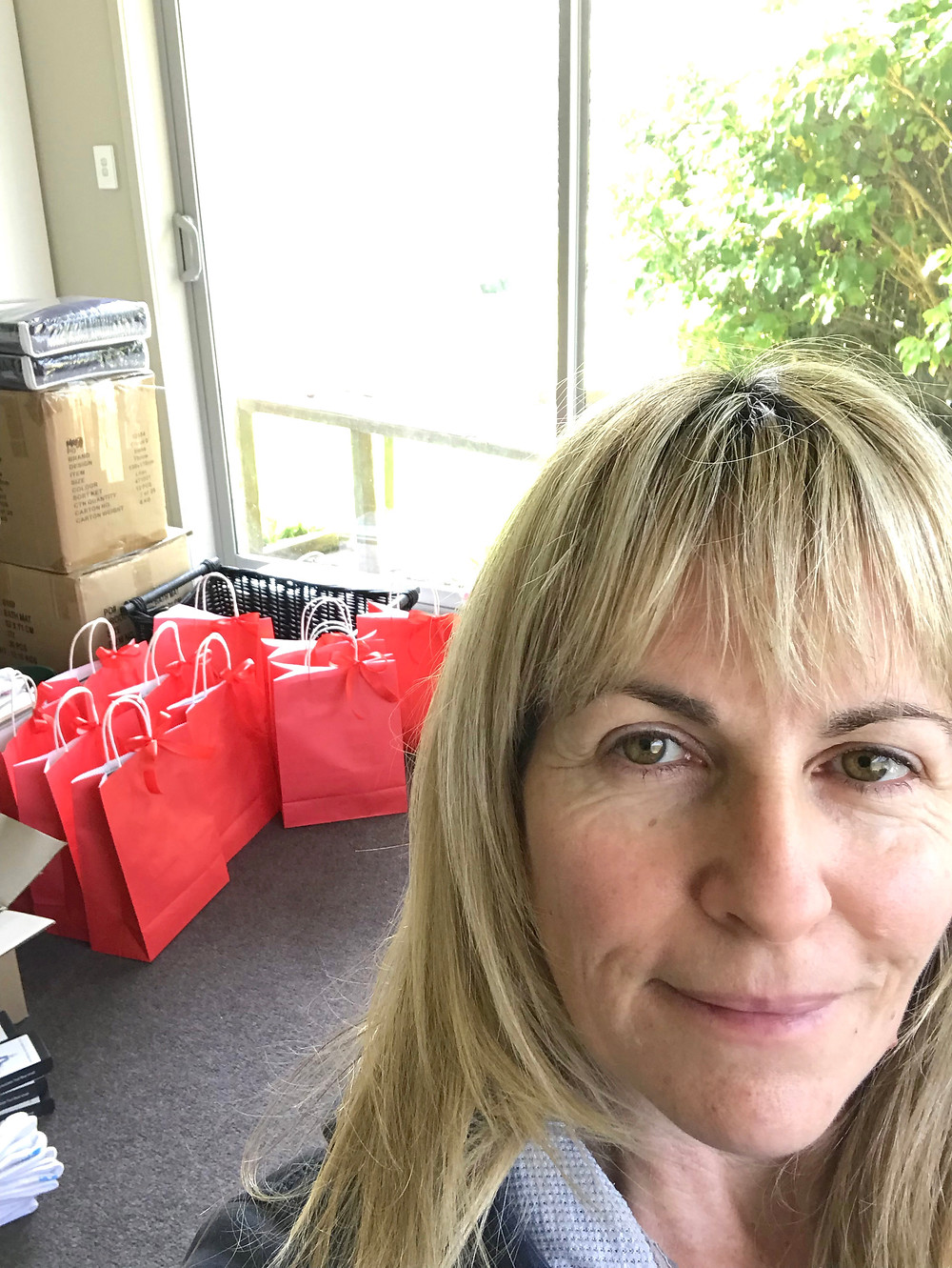 Red gift bags for pamper day