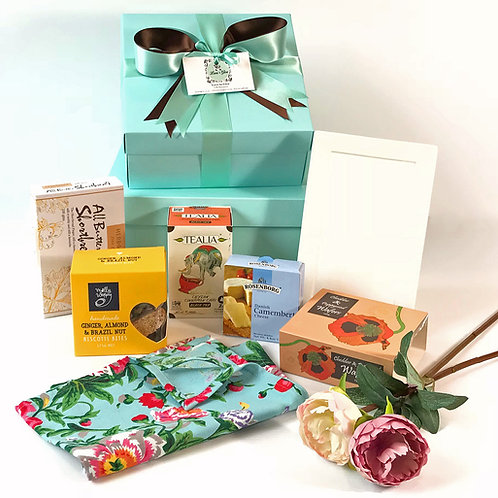 Housewarming gift hamper, real estate agent gift, gift hamper with platter, tea towel, cheese & crackers, biscotti