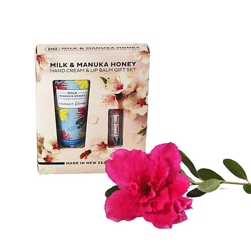 Set containing hand cream and lip balm made with NZ Manuka honey and milk. Delicate fresh flowers and fruit scent.