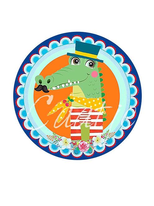 6 krokodillenstickers van de rol