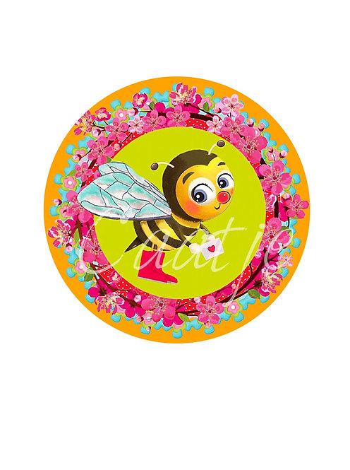 6 bijenstickers van de rol