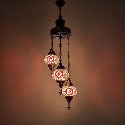 Lámpara turca de techo 3 bolas tamaño 2