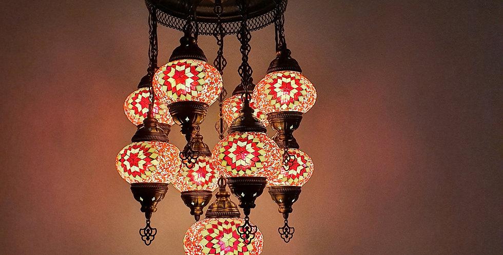 Lámpara turca de techo con 9 bolas