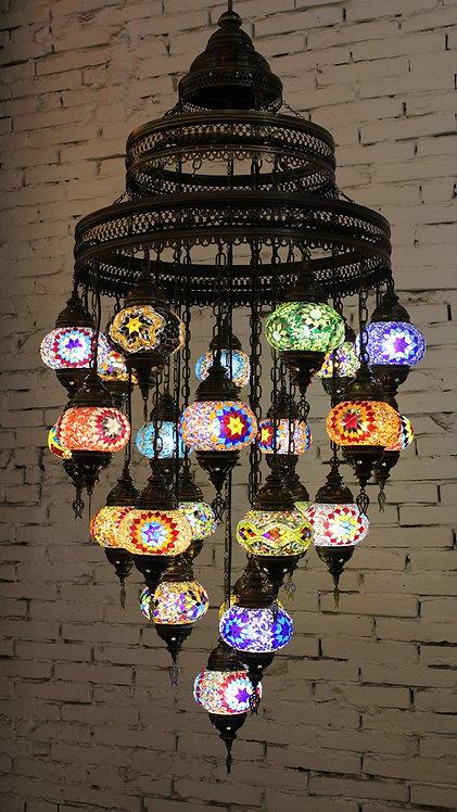 Lámpara turca de techo de 24 bolas