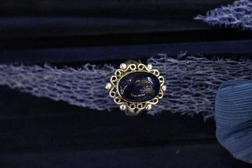 Anillo artesanal de plata 925 con piedra lapislázuli