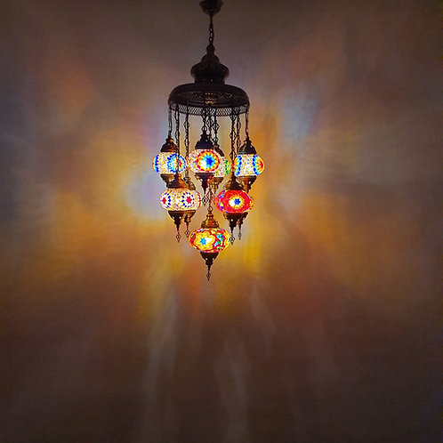 Lámpara turca techo con 9 bolas