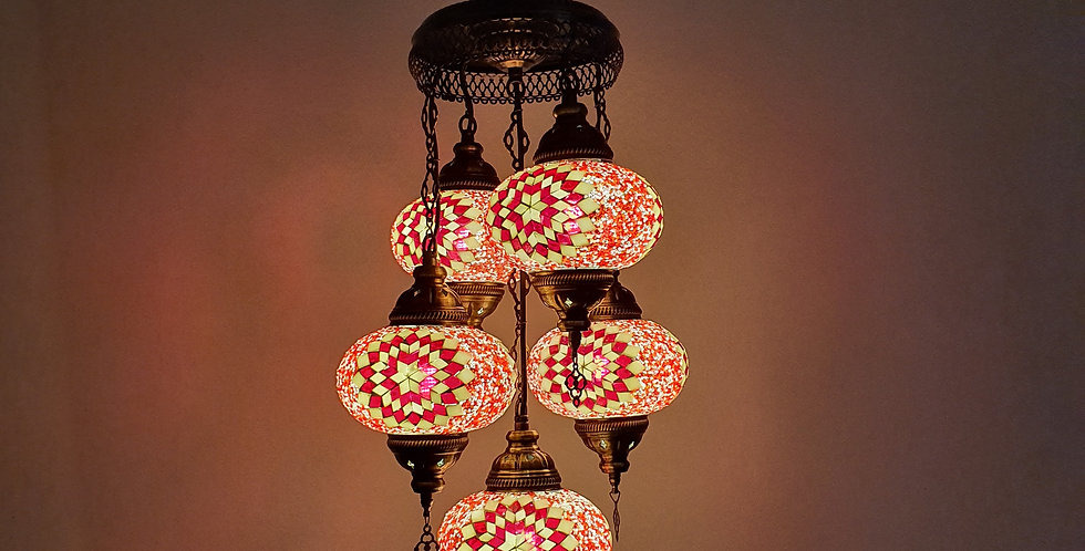 Lámpara turca techo con 5 bolas