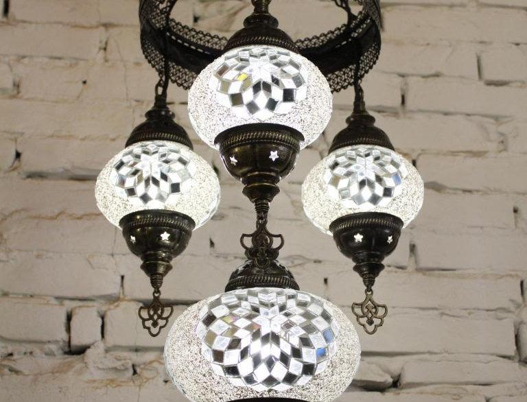 Lámpara árabe techo 4 bolas