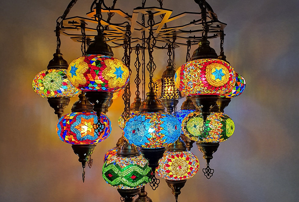 Lámpara turca de techo de 16 bolas