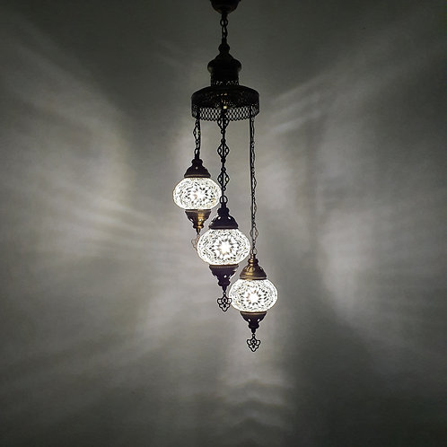 Turkish mosaic lamp with 3 globes