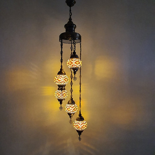 Lámpara árabe techo 5 bolas tamaño 2