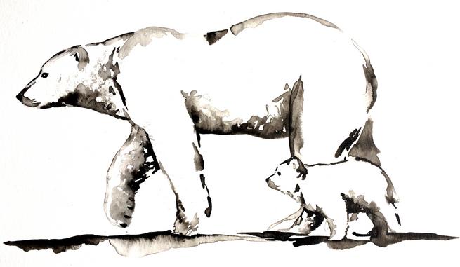 Polar Bear and Cub - Ink
