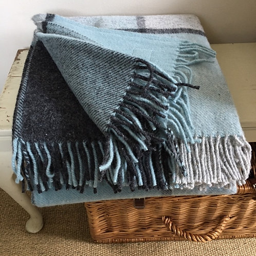 Charcoal Blue -Pure Wool Throw